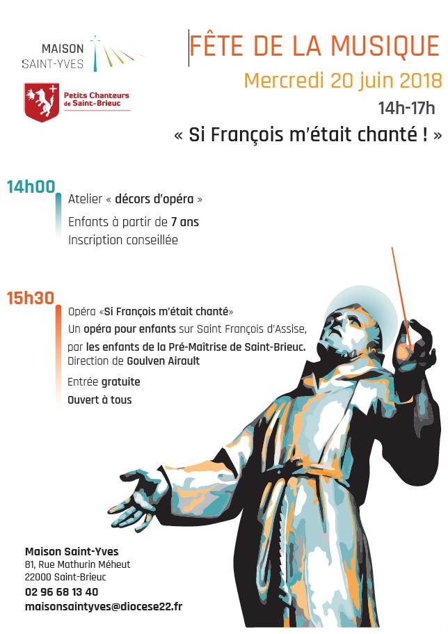 affiche de la fete de la musique 2018 à la Maison Saint-Yves