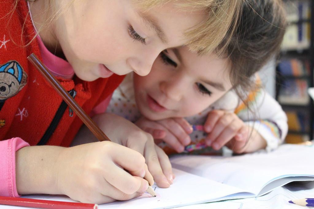 Deux enfants travaillant à l'école