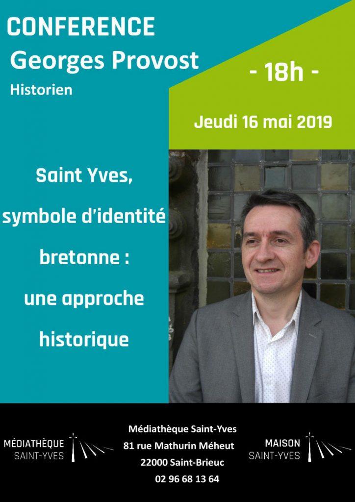 Affiche pour la conférence de Georges Provost en mai 2019 à la Maison Saint-Yves
