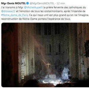 Tweet de Mgr denis Moutel au sujet de l'incendie de Notre-Dame de Paris
