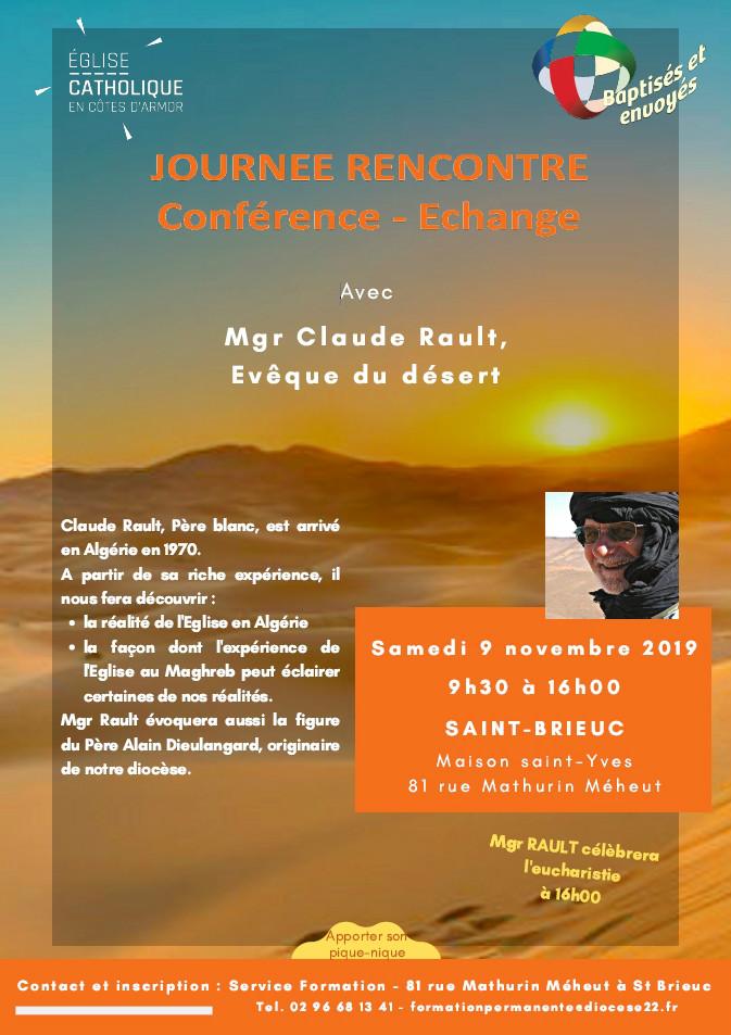 Affiche sur la rencontre avec Mgr Claude Rault