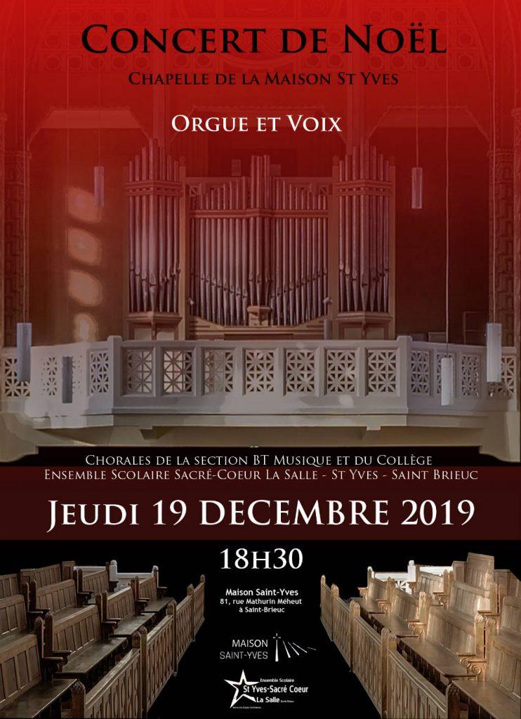 Affiche du concert de Noël 2019 à la Maison Saint-Yves