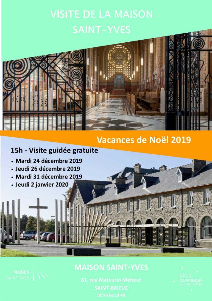 Affiche des visites guidées durant les vacances de Noël 2019 à la Maison Saint-Yves