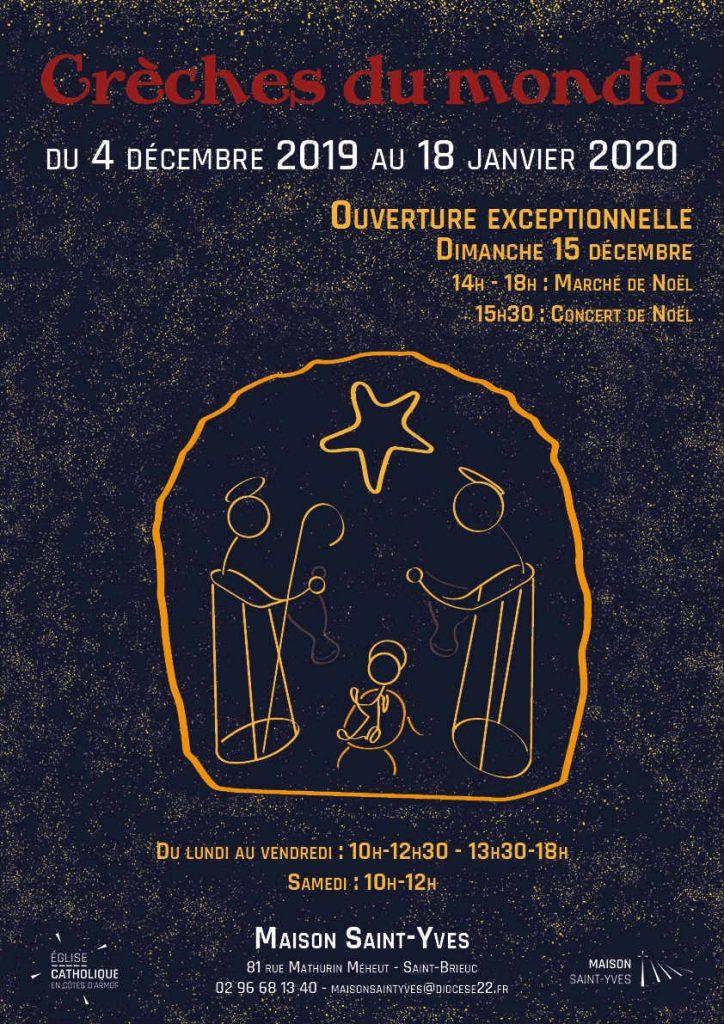 Affiche de l'exposition de crèches 2019 à la Maison Saint-Yves