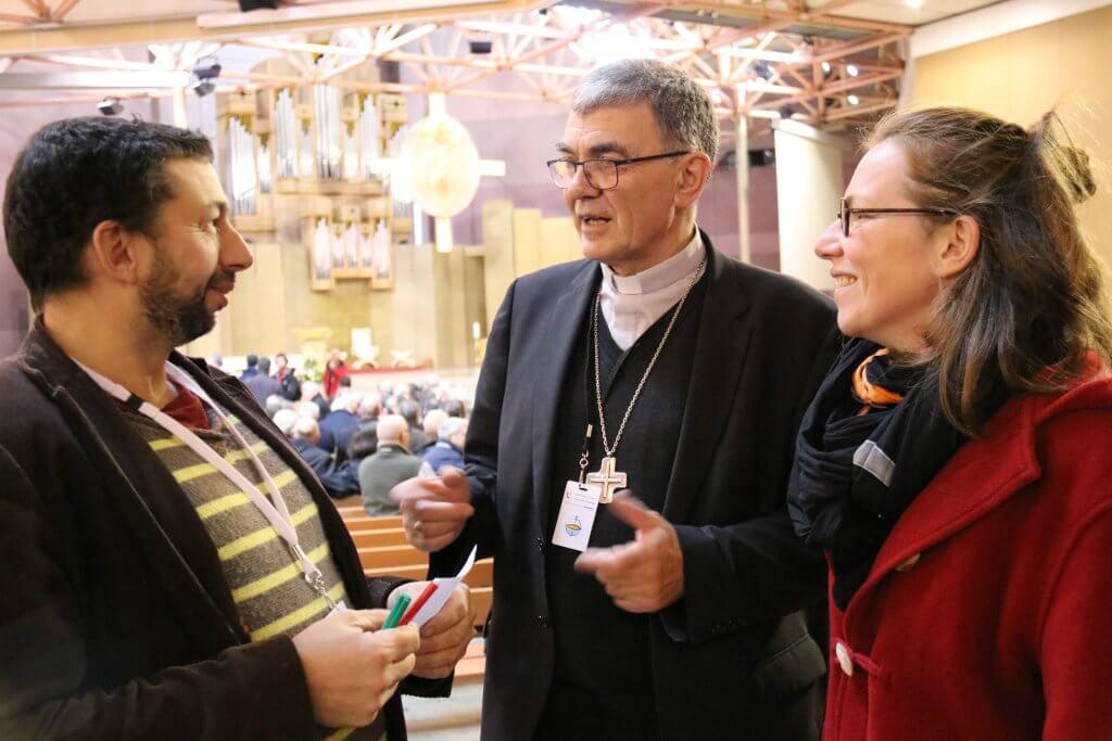 Laïcs accompagnant Mgr Moutel à Lourdes en novembre 2019