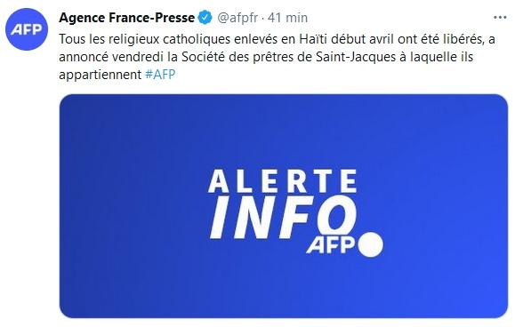 Tweet de l'AFP sur la libération des otages en Haïti