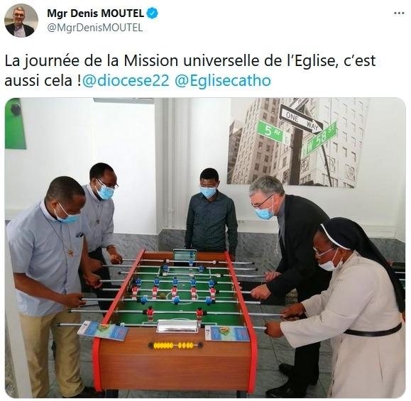 Tweet de Mgr Denis Moutel lors de la journée inter-églises 2021