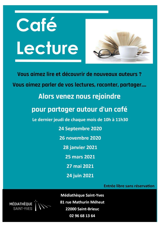 Affiche des dates 2021/2022 du café lecture à la Médiathèque Saint-Yves