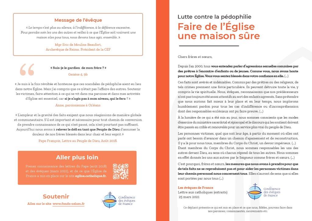 Dépliant de la Lettre aux Catholiques de France