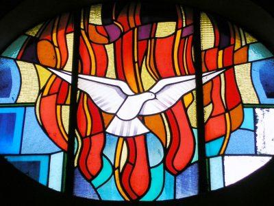 Photo d'un vitrail représentant une colombe